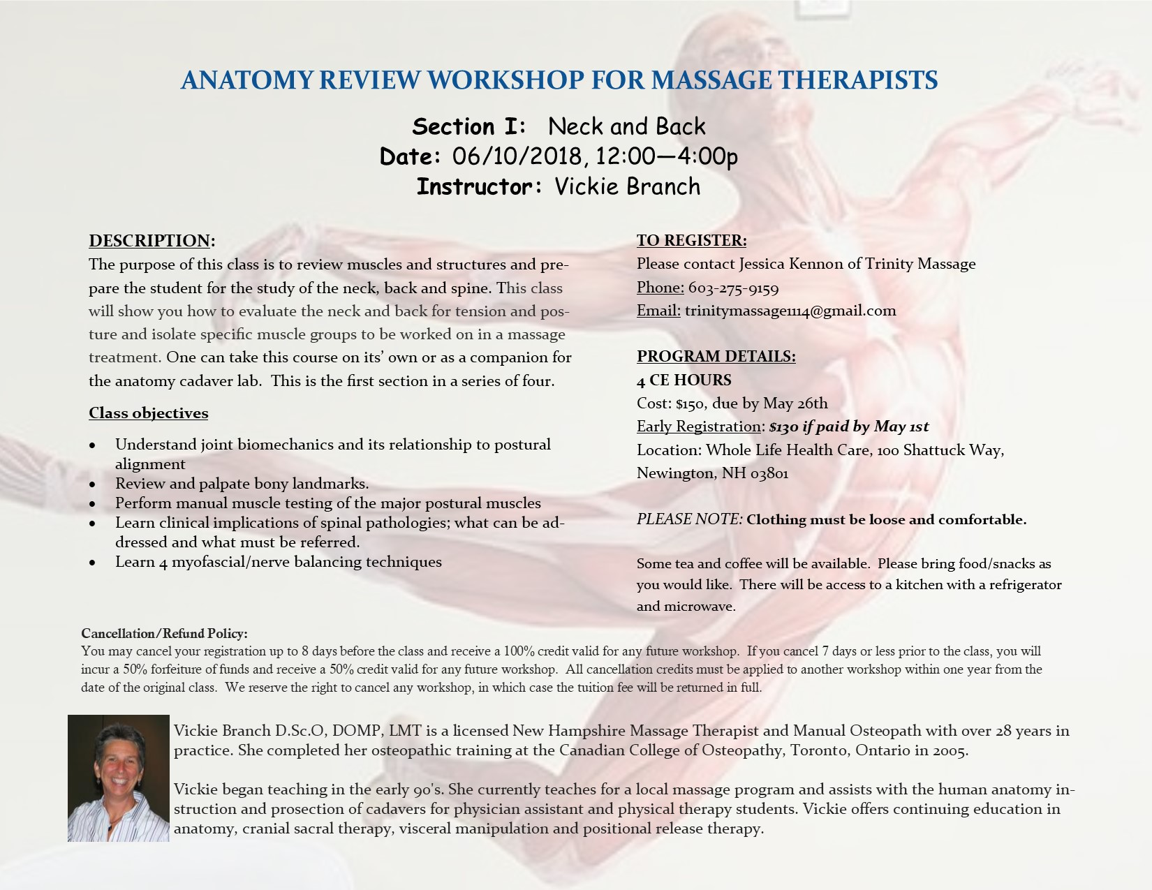 Anatomy Review Workshop for Massage Therapists June 10, 2018